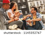 group of friends hangout at the ... | Shutterstock . vector #1145352767