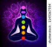 meditating human in lotus pose. ... | Shutterstock .eps vector #1145367554