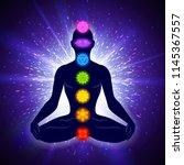 meditating human in lotus pose. ... | Shutterstock .eps vector #1145367557