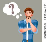 man is thinking. question mark. ... | Shutterstock .eps vector #1145367644
