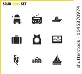 summer icons set with yacht ...
