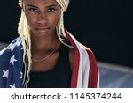 close up of a female athlete... | Shutterstock . vector #1145374244
