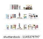 clothing store set. clothes for ... | Shutterstock .eps vector #1145379797