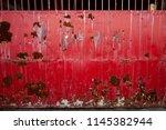 rusty red sliding gate.  | Shutterstock . vector #1145382944