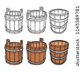 set of barrels of beer vintage... | Shutterstock .eps vector #1145389781