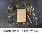 top view of craft recycle paper ... | Shutterstock . vector #1145394461