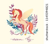 pink unicorn with wings... | Shutterstock .eps vector #1145394821