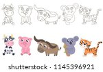 animals for coloring vector... | Shutterstock .eps vector #1145396921