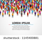 large group of people on white... | Shutterstock .eps vector #1145400881