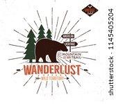 vintage hand drawn wanderlust... | Shutterstock .eps vector #1145405204