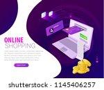 isometric online payment ... | Shutterstock .eps vector #1145406257