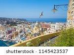 colorful housing  fishing boats ... | Shutterstock . vector #1145423537