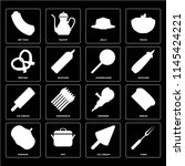 set of 16 icons such as fork ... | Shutterstock .eps vector #1145424221
