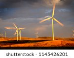 power generated by wind with... | Shutterstock . vector #1145426201