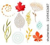 set of falling leaves. natural... | Shutterstock .eps vector #1145432687