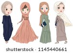 set of hand drawn arabic woman... | Shutterstock .eps vector #1145440661
