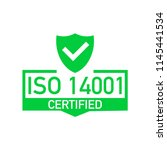 iso 14001 certified badge  icon.... | Shutterstock .eps vector #1145441534
