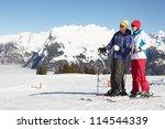 couple having fun on ski... | Shutterstock . vector #114544339