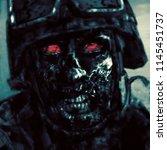 evil zombie soldier in helmet.... | Shutterstock . vector #1145451737