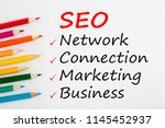 seo written on a white... | Shutterstock . vector #1145452937