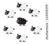 flock of sheep  black sheep... | Shutterstock .eps vector #114545299