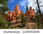 sharp towers in bryce canyon... | Shutterstock . vector #1145453654