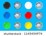 set of colored pin button front ... | Shutterstock .eps vector #1145454974