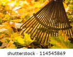 Autumn Leaves And A Rake On...