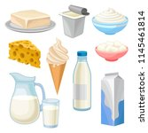dairy products set  butter ... | Shutterstock .eps vector #1145461814