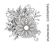 floral pattern in black and... | Shutterstock . vector #1145469491