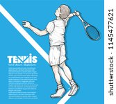 tennis background design with... | Shutterstock .eps vector #1145477621
