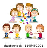 girls and boys playing with... | Shutterstock .eps vector #1145492201