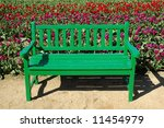 A Bright Green Bench Offers A...