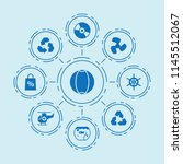 set of 9 circle filled icons... | Shutterstock .eps vector #1145512067