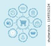 set of 9 internet outline icons ... | Shutterstock .eps vector #1145512124