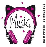 vector cat headphone music for... | Shutterstock .eps vector #1145516531
