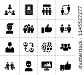 set of 16 social filled icons... | Shutterstock .eps vector #1145527277