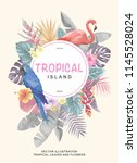 tropical hawaiian poster with... | Shutterstock .eps vector #1145528024