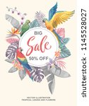 tropical hawaiian sale poster... | Shutterstock .eps vector #1145528027