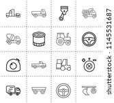 Set Of 16 Truck Outline Icons...