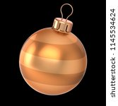 christmas ball golden yellow... | Shutterstock . vector #1145534624