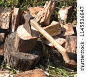 preparation of firewood for the ... | Shutterstock . vector #1145536847