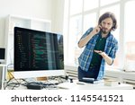 puzzled handsome hipster young... | Shutterstock . vector #1145541521