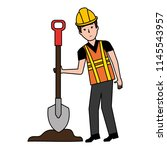 builder with shovel character | Shutterstock .eps vector #1145543957