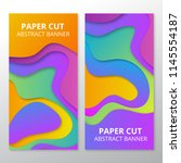 colorful paper cut banners | Shutterstock . vector #1145554187