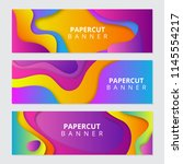 colorful paper cut banners   Shutterstock . vector #1145554217