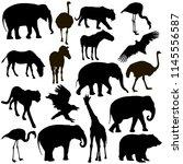 silhouette elephant tiger bear... | Shutterstock . vector #1145556587