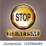 shiny badge with stop icon and ... | Shutterstock .eps vector #1145566484
