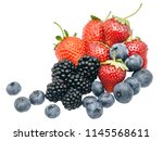 blackberries  strawberries  and ... | Shutterstock . vector #1145568611