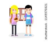 a couple of high school...   Shutterstock . vector #1145570321